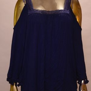 Dark blue top with cut-out shoulders, bell sleeves